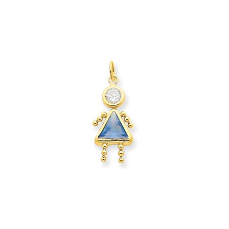 14k Gold March Girl Gemstone Charm - Gold Girls Charm