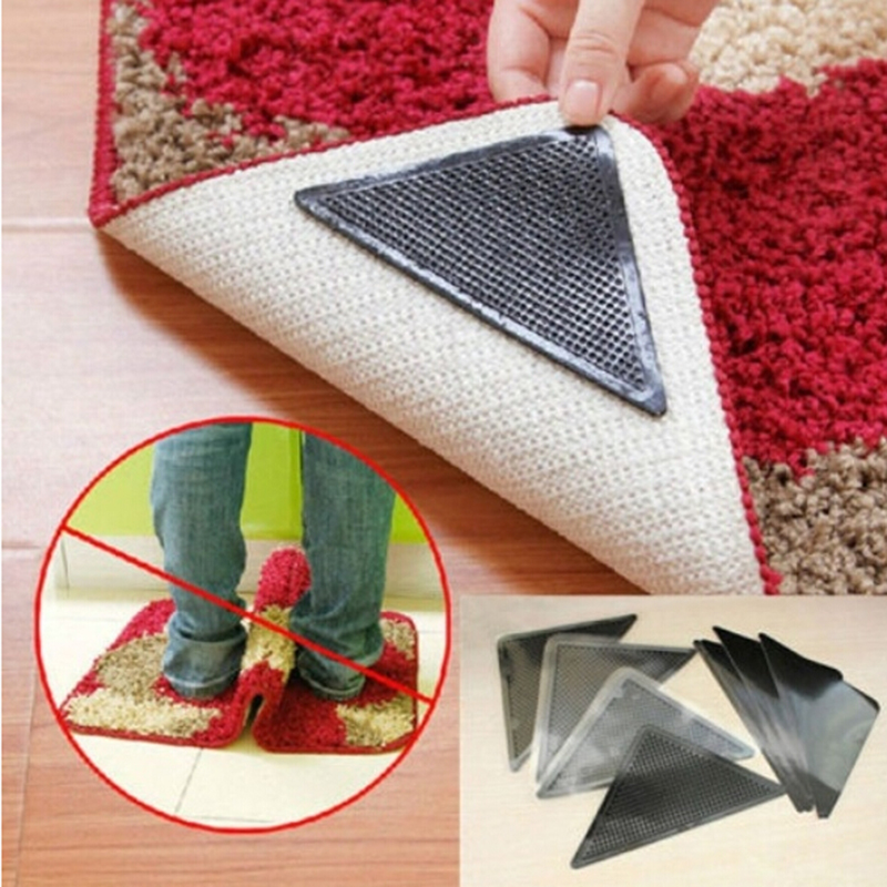 4PCS- Anti-Slip Rug Pad Ruggies Reusable Washable Silicone Carpet Pad Floor Gripper Suction Grip Stopper Corner Carpet Mat Holder BH-E1041