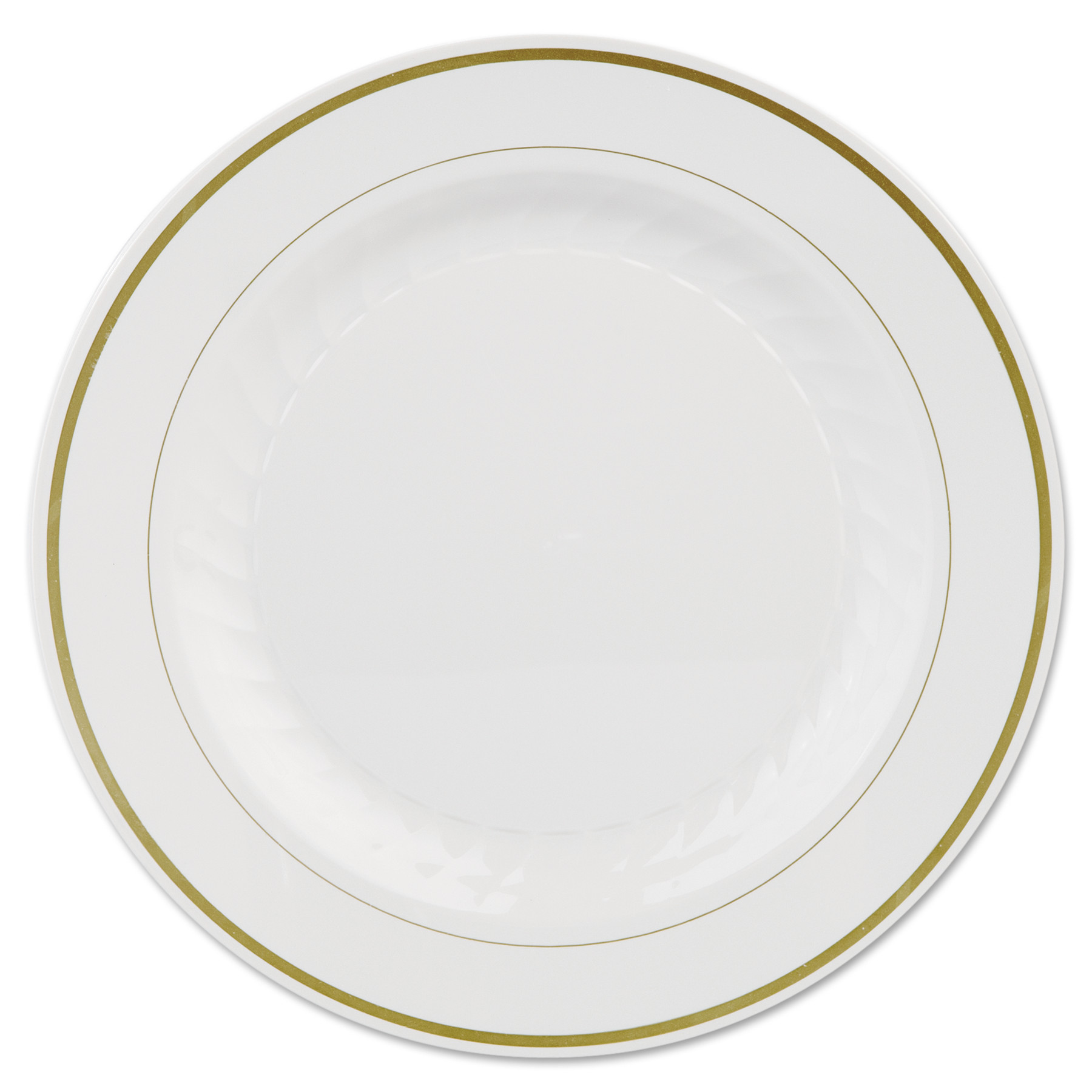WNA Masterpiece Plastic Plates, 10 1/4in, Ivory w/Gold Accents, Round