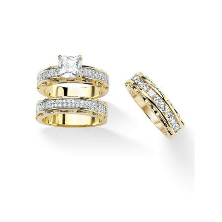 Cubic Zirconia Wedding (3.10 TCW Princess-Cut Cubic Zirconia 14k Gold-Plated Wedding Three-Piece Ring)