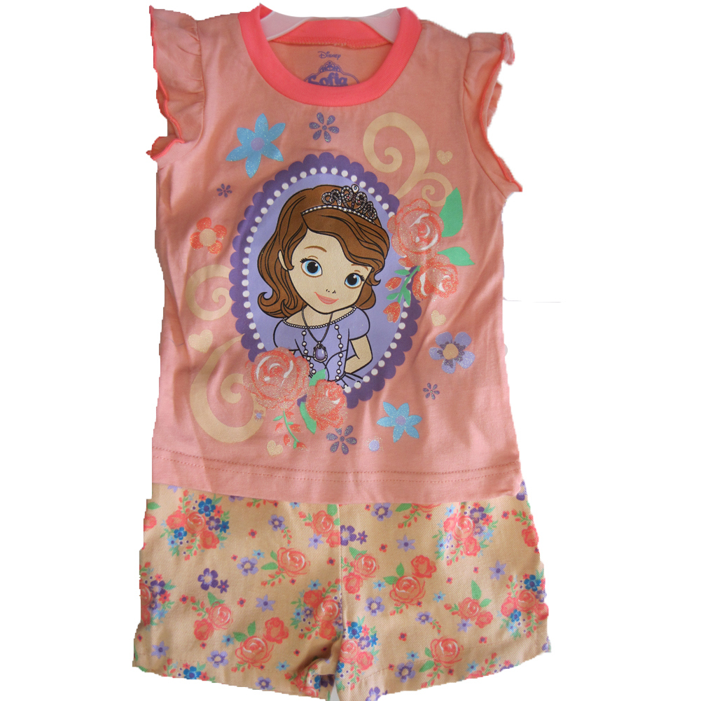 Disney Little Girls Coral Floral Sofia The First 2 Pc Shorts Set 2T-4T