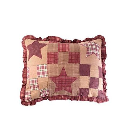 Star Patch Patchwork Pillow Sham, 100% Cotton Fabric By Victorian Heart