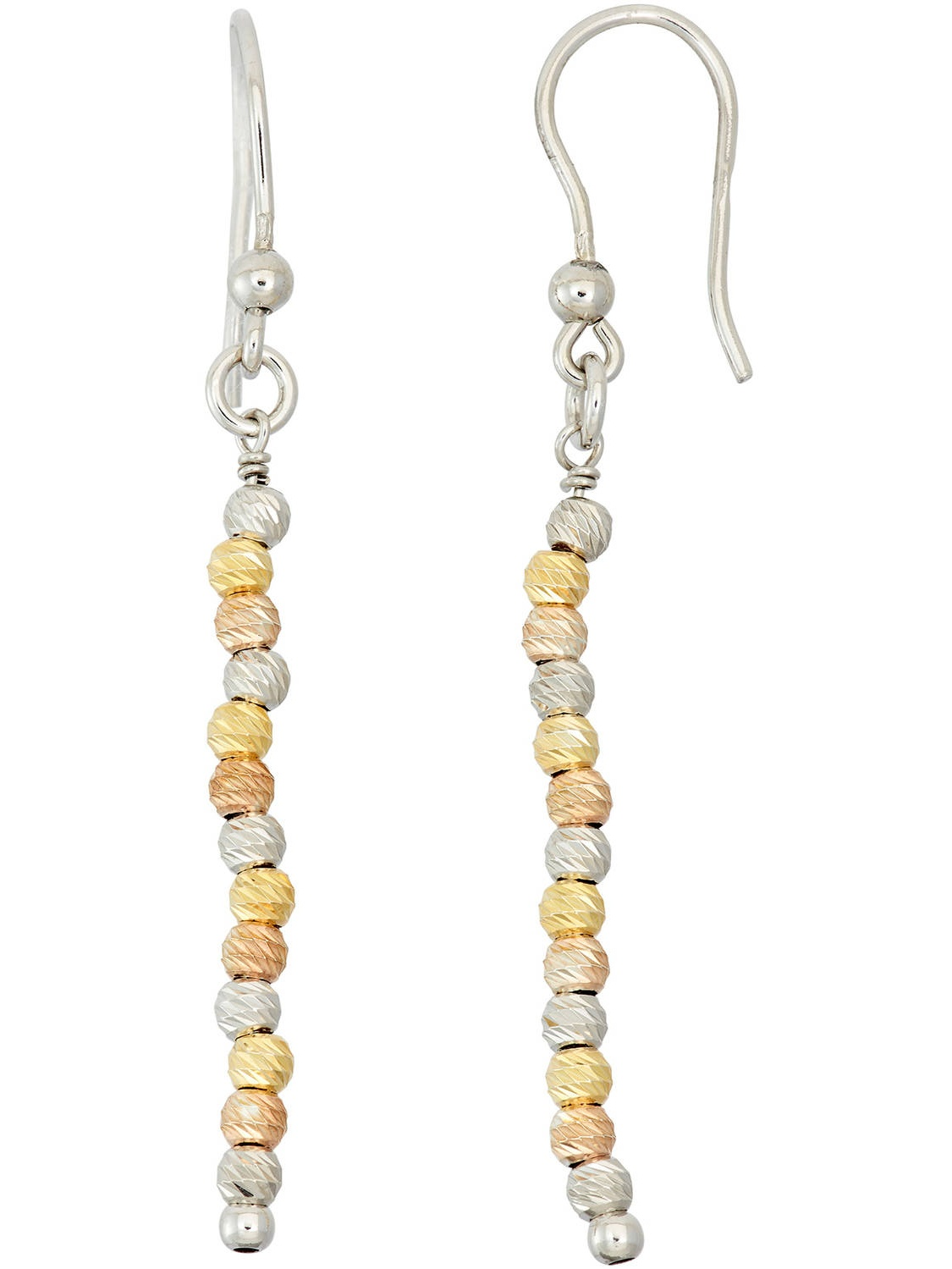 14kt Gold-, Rose Gold- and Rhodium-Plated Sterling Silver DC Beaded Drop Earrings