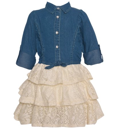 Real Love Little Girls Ivory Blue Knot Chambray Top Lace Tiered Dress