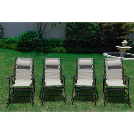 Every Season Folding Steel Outdoor Rocking Chair Set Of 4