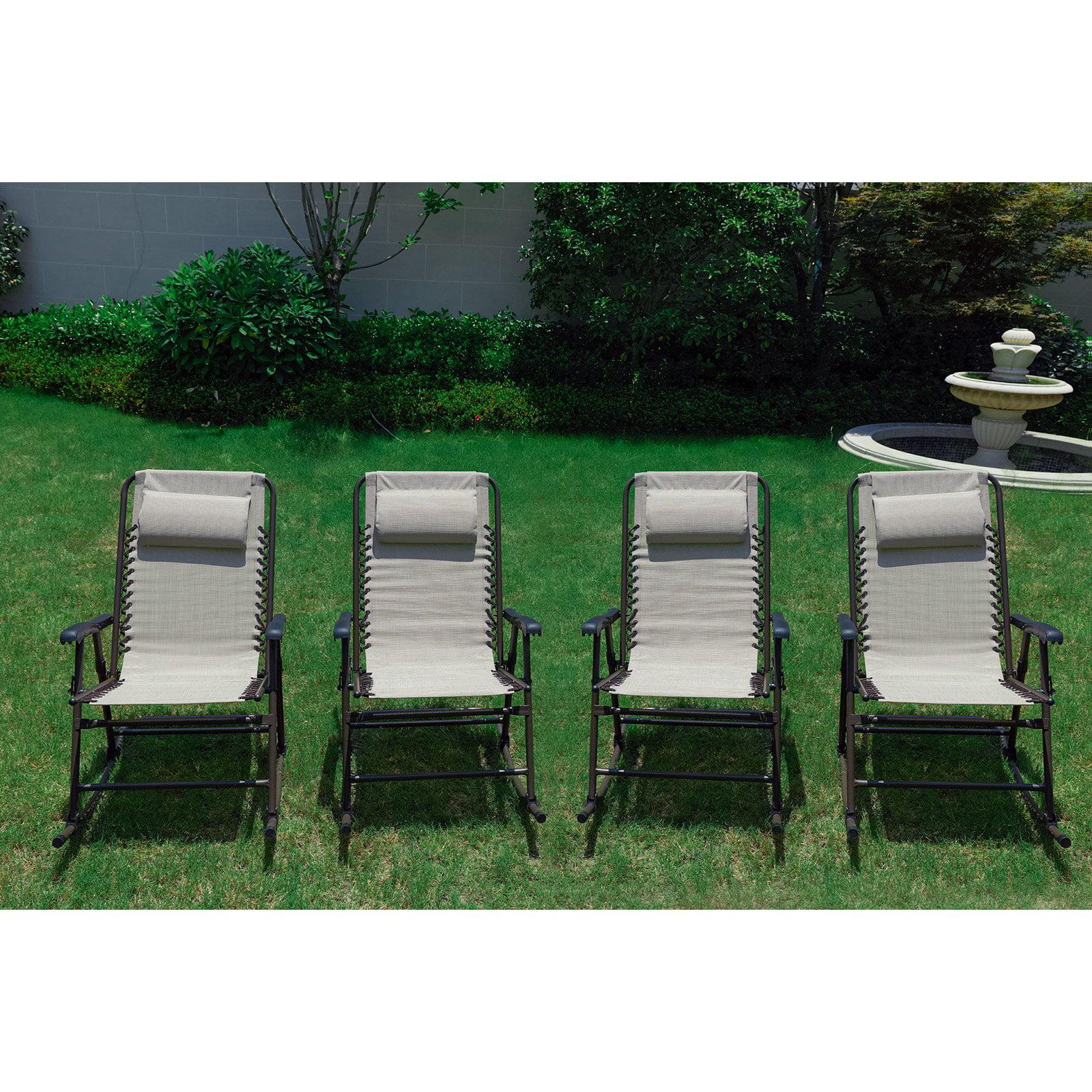 Every Season Folding Steel Outdoor Rocking Chair - Set of 4