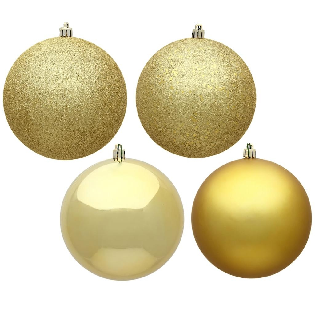 "Vickerman 484203 - 4.75"" Gold Assorted Ball Christmas Tree Ornament (Set of 4) (N591268A)"