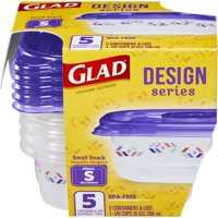 Glad Food Storage Containers - Designer Series Small Rectangle Container - 9 oz - 5 Containers