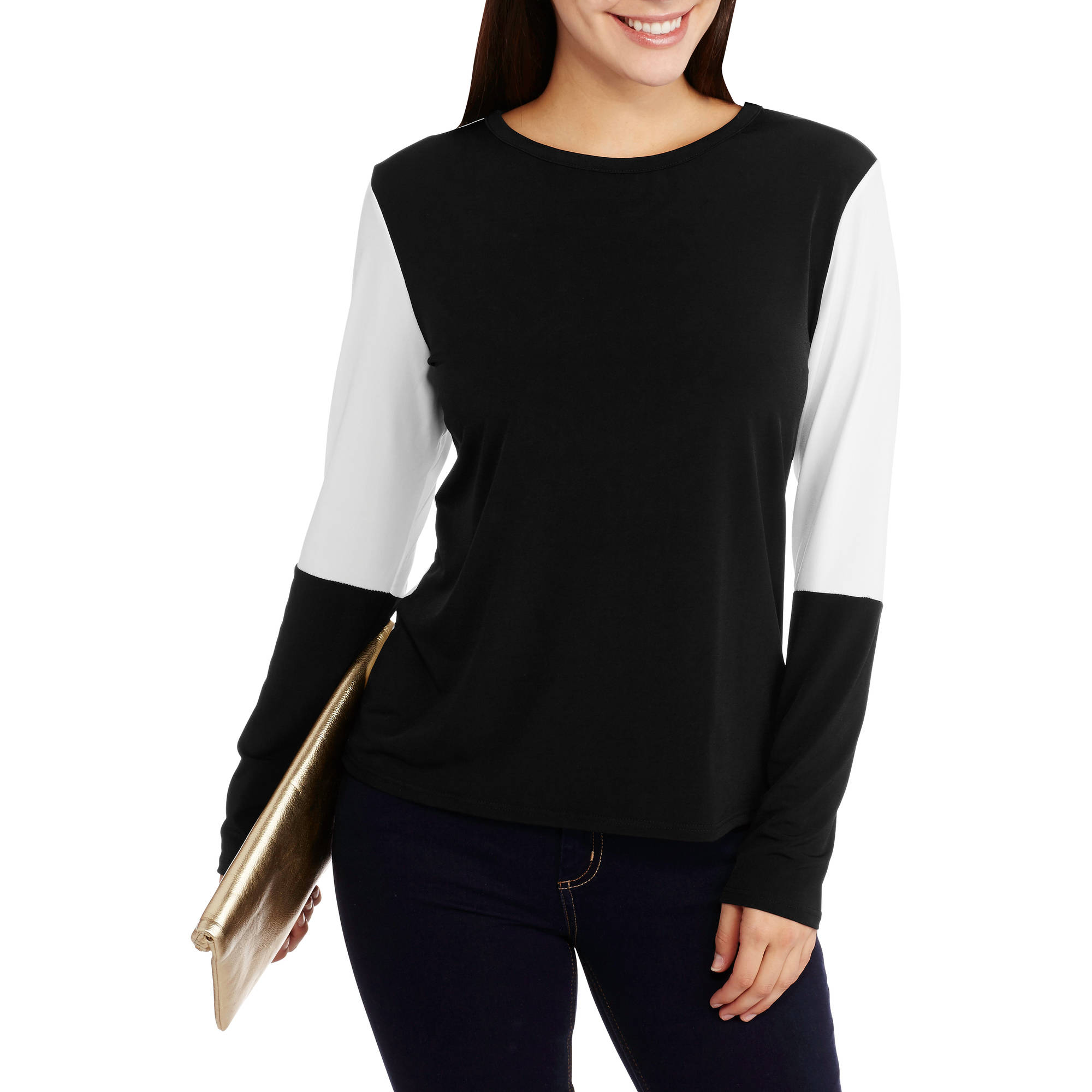 Double Click Women's Colorblock Cross Back Top