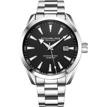 Attitude Series: 3953.1 Mens Watch Boldly Styled Quartz Date With PrecisiEtch Grooved Dial Stainless Steel Bracelet Miyota Japanese Movement Dial Acrylic Date Watch