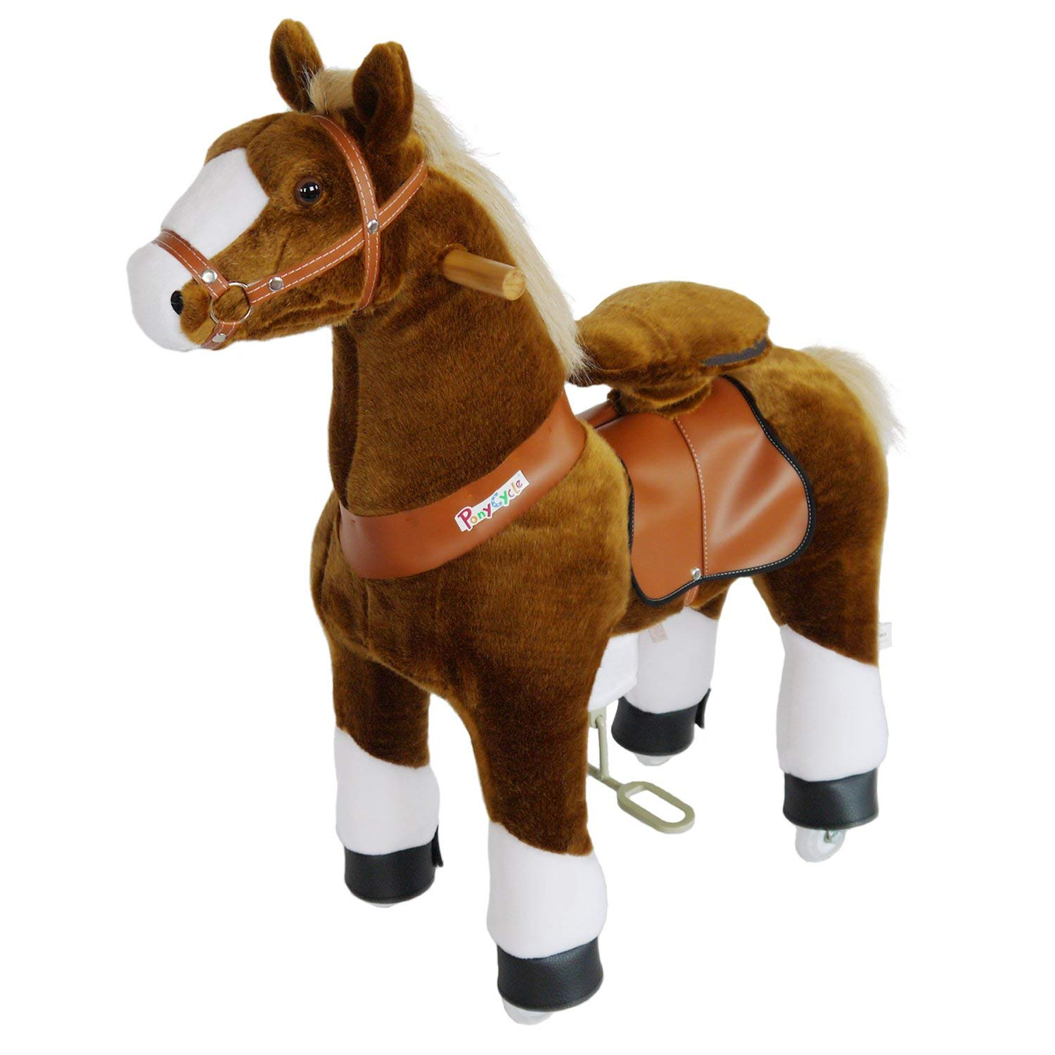 PonyCycle N4151 Ride On Horse Mechanical Horse Brown with White Hoof Medium for Age 4-9 …