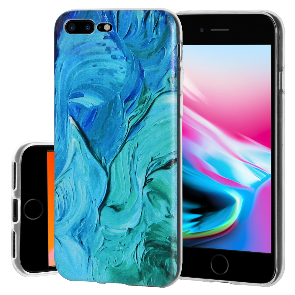 iPhone 8 Plus Case, Premium Soft Gel Clear TPU Graphic Skin Case Cover for Apple iPhone 8 Plus - Abstract Blue Brushstroke, Support Wireless Charging, Slim Fit, ShockProof