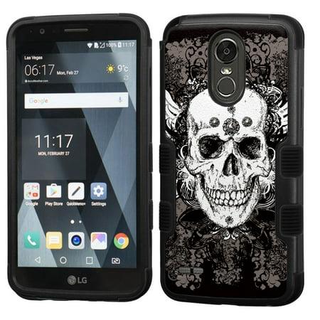 3-Layer Case for LG Stylo 3 / Stylo 3 Plus, OneToughShield ® Shock Absorbing Hybrid Phone Case (Black) - Grunge Skull
