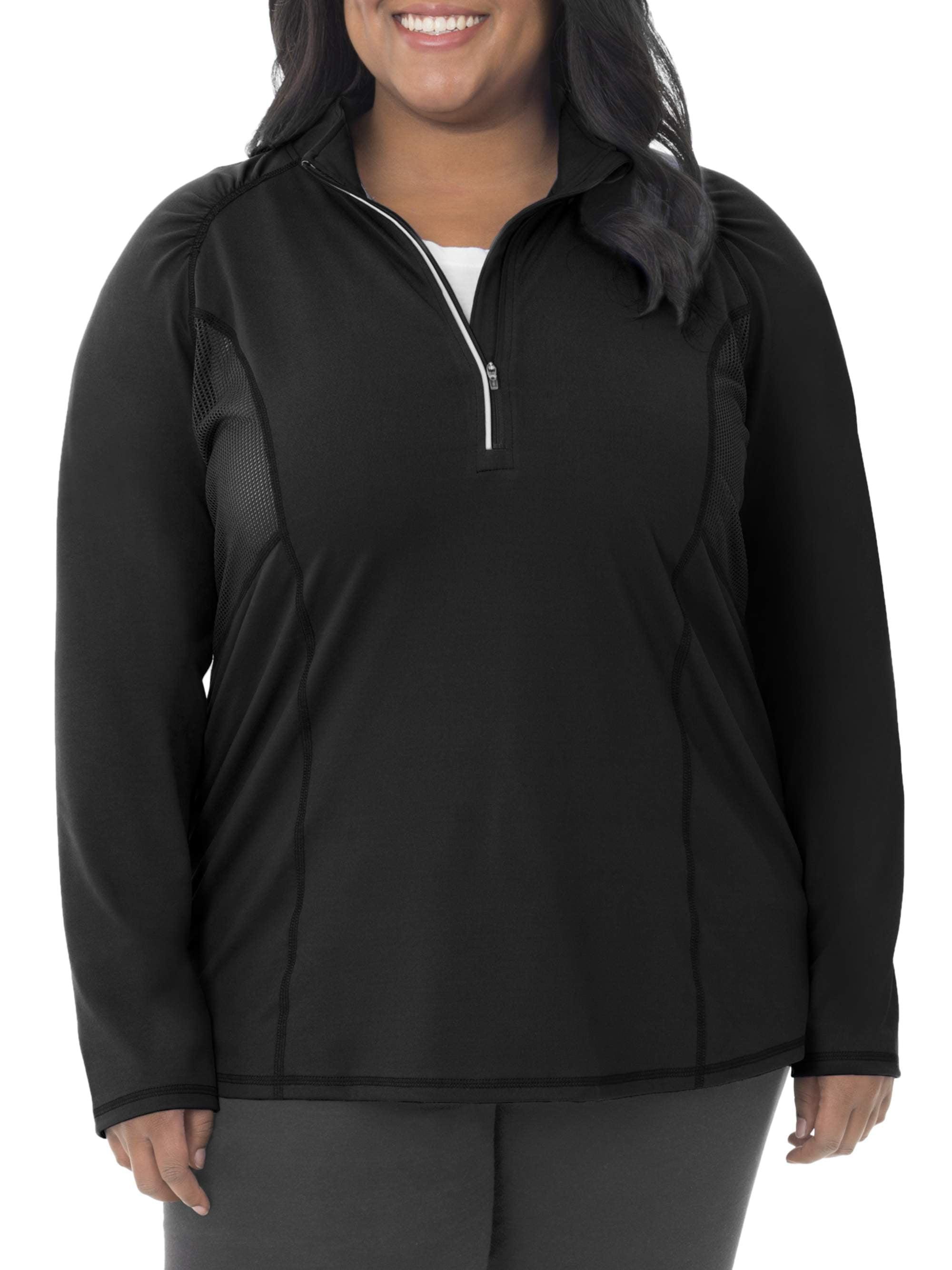 Women's Plus Size Active Mesh Zip Mock Pullover