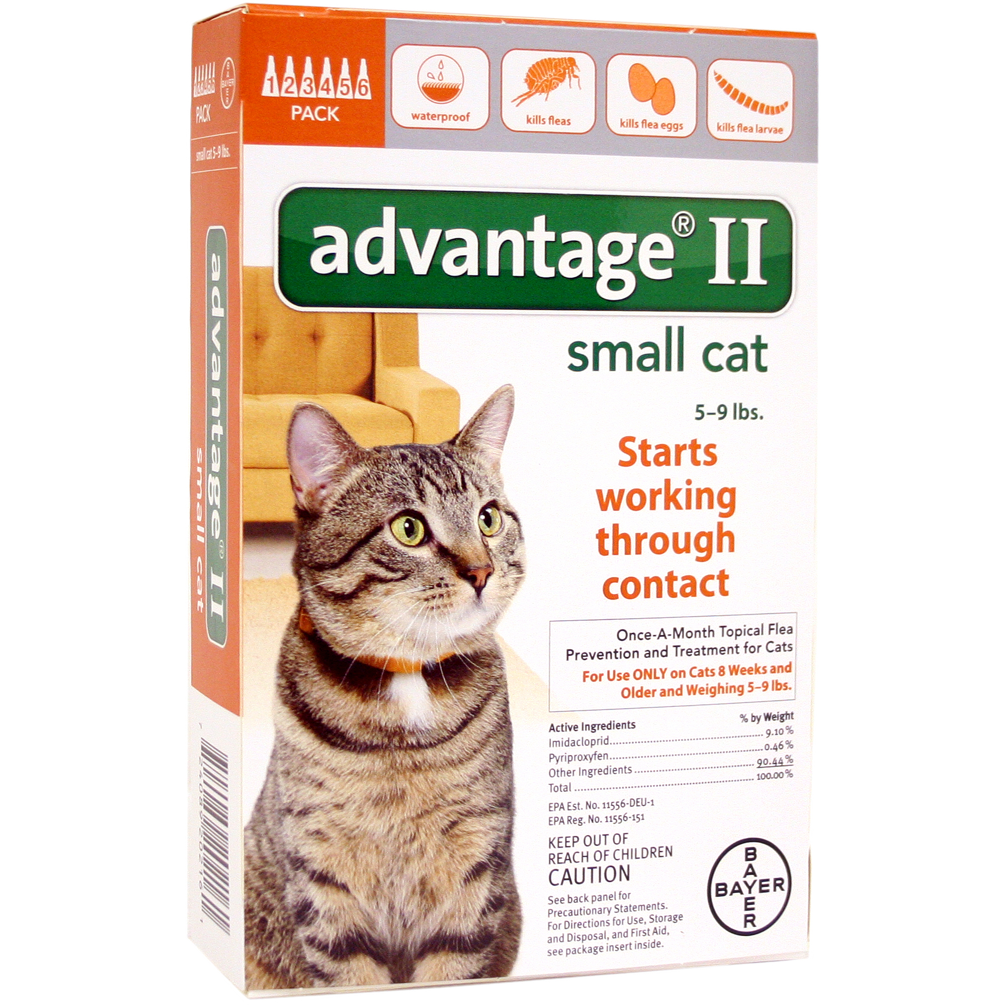 Image of Advantage II Flea and Lice Topical Treatment for Small Cats, 6 Monthly Doses