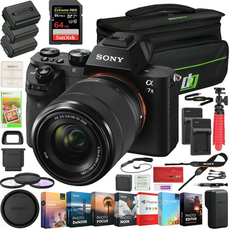 Sony a7 II Full-Frame Alpha Mirrorless Digital Camera a7II ILCE-7M2/K with FE 28-70mm F3.5-5.6 OSS Lens Kit and Deco Gear Professional Photo Video Camera Case 2X Extra Battery Power Editing