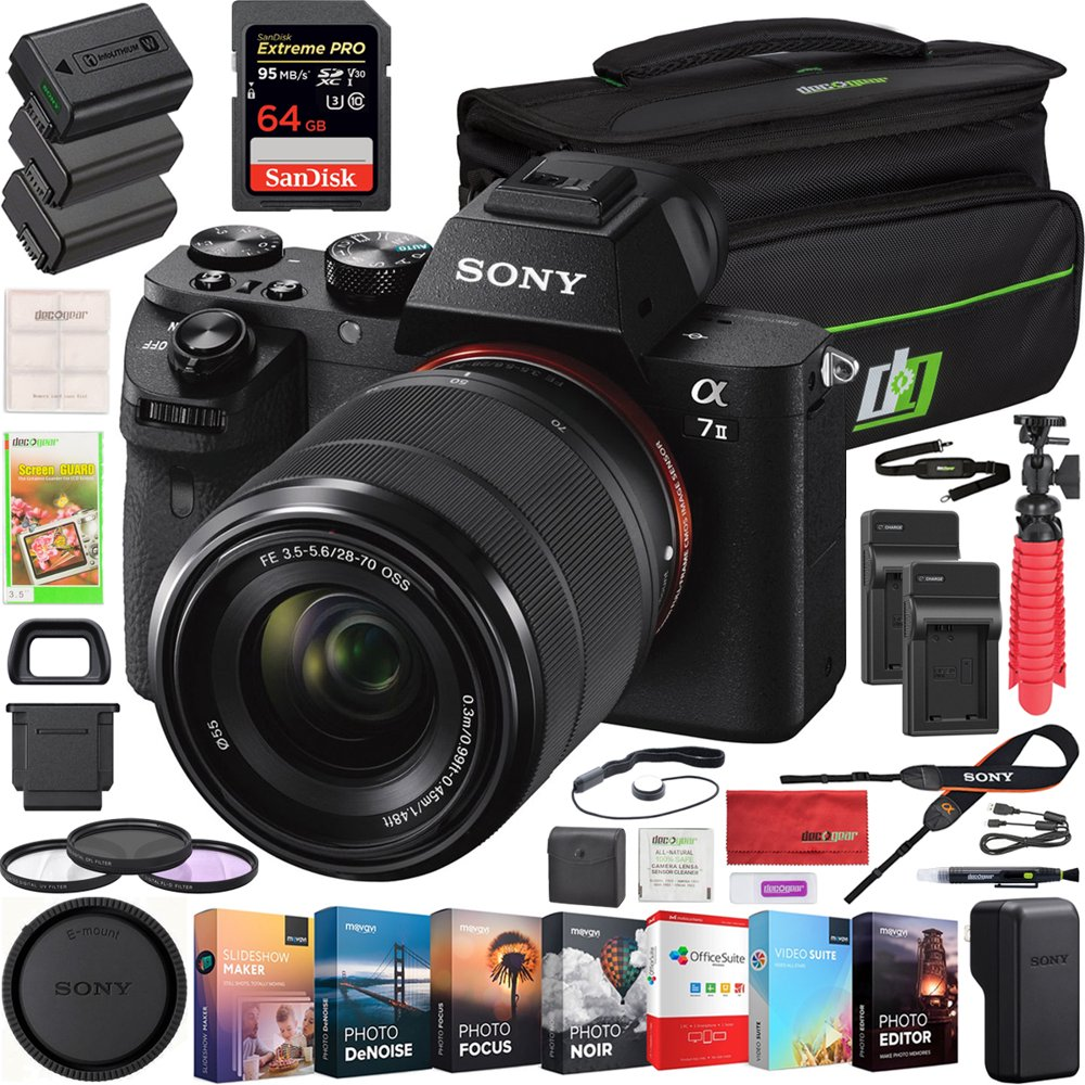 Sony a7 II Full-Frame Alpha Mirrorless Digital Camera a7II ILCE-7M2/K with FE 28-70mm F3.5-5.6 OSS Lens Kit and Deco Gear Professional Photo Video Camera Case 2X Extra Battery Power Editing Bundle