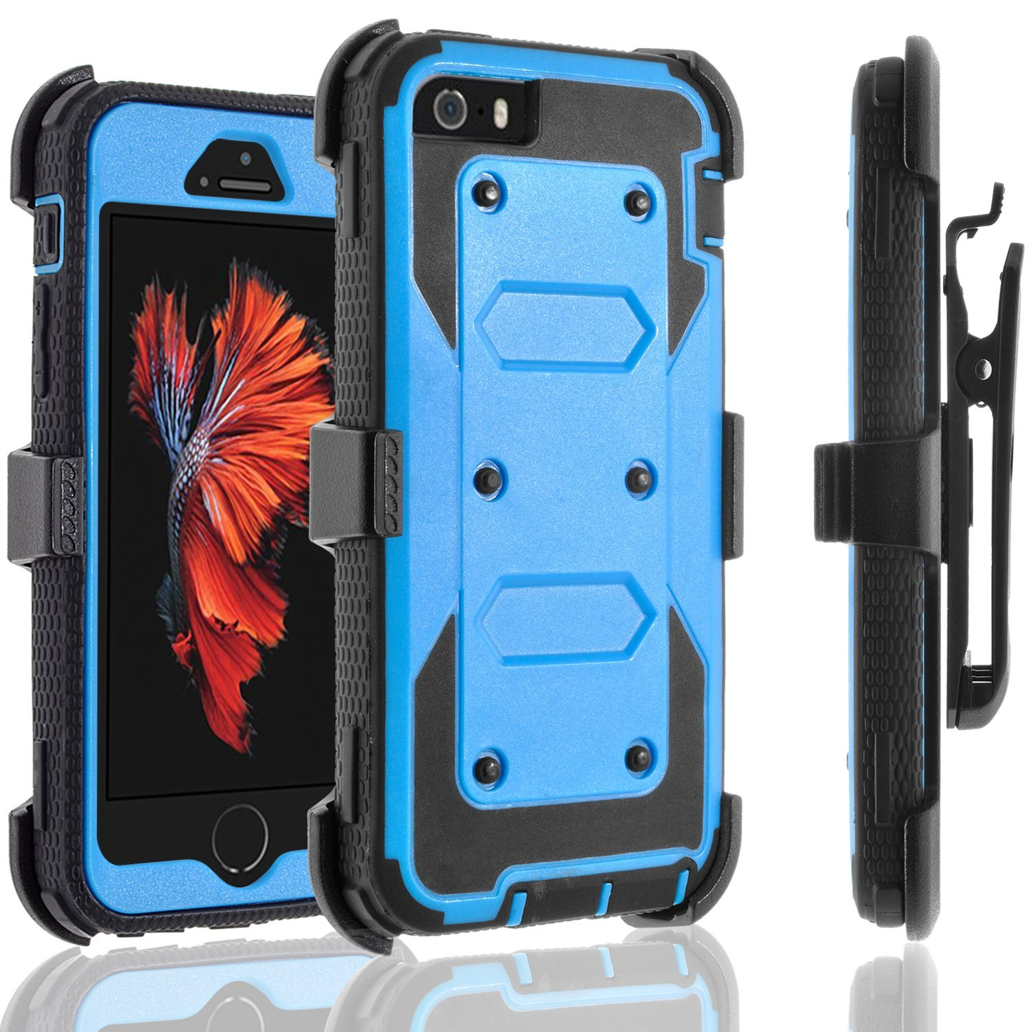 iPhone SE Case, iPhone 5 Case, iPhone 5S Case, [SUPER GUARD] Dual Layer Protection With [Built-in Screen Protector] Holster Locking Belt Clip+Circle(TM) Stylus Touch Screen Pen (Black)