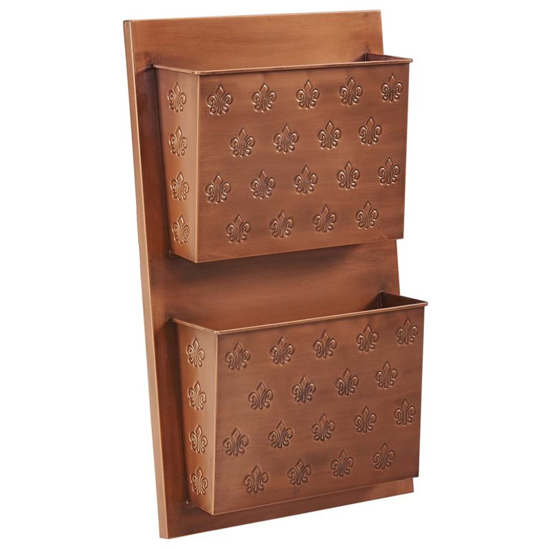 Linon Two Slot Wall Mailbox, Copper, Fleur-de-lis, Assembled