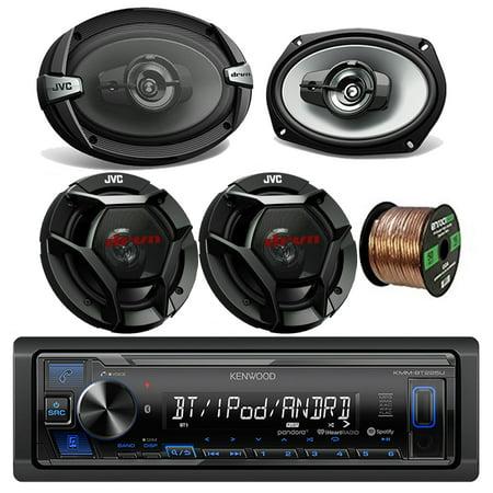 Kenwood Car Stereo Bluetooth Digital Receiver Bundle Combo w/2x JVC CS-DR693 6x9 Inch 3-Way Vehicle Coaxial Speakers + 2x CSDR621 6.5 2-Way Audio Speakers + Enrock 50Ft 16g Speaker Wire ()