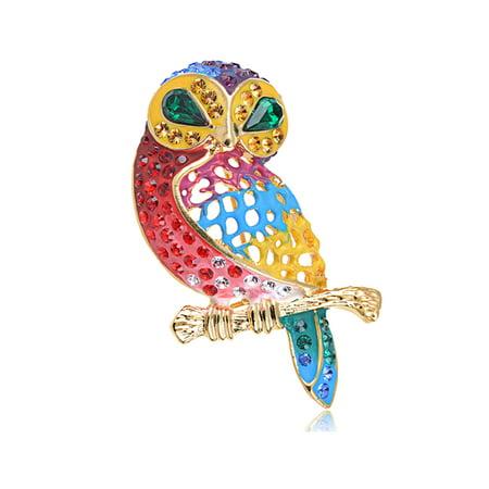 - Crystal Elements Rainbow Pride Colorful Gems Meek Owl Bird Pin Brooch