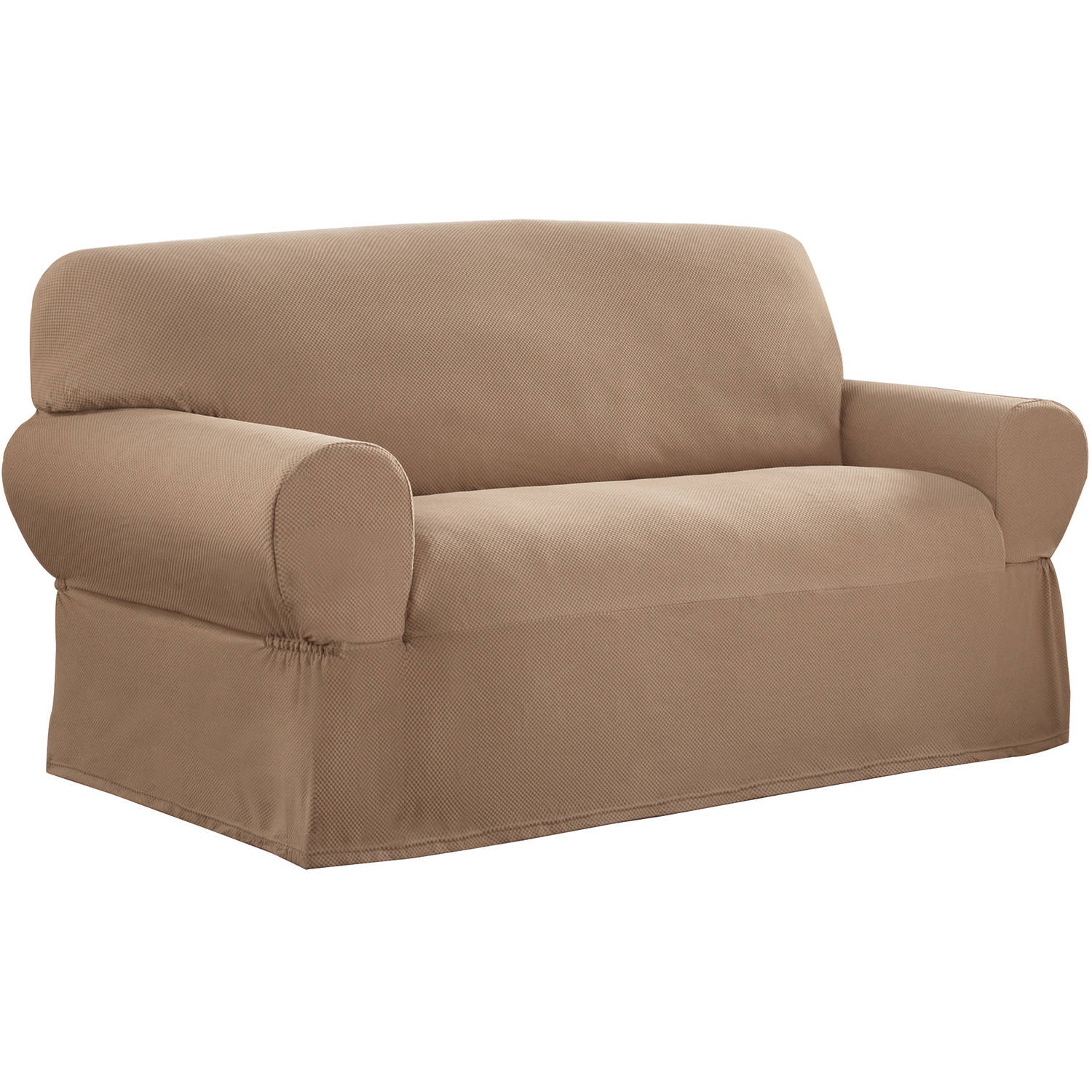Mainstays 1 Piece Stretch Fabric Loveseat Slipcover Walmart