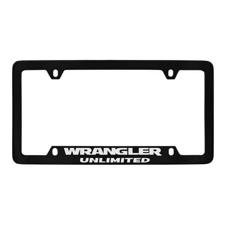 Jeep Wrangler Unlimited On Bottom Black Coated Metal License Plate Frame Holder