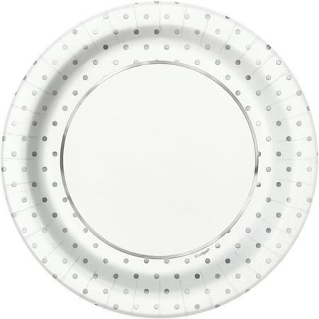 Foil Elegant Silver Polka Dot Paper Dinner Plates, 9 in, 8ct ()