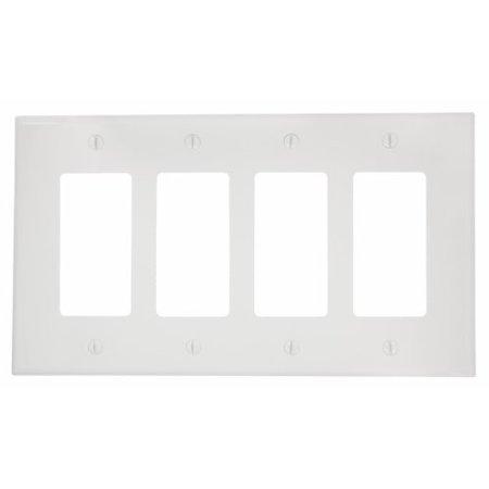 Leviton PJ264-W White Midway Nylon Four Gang Decora Wall Plate