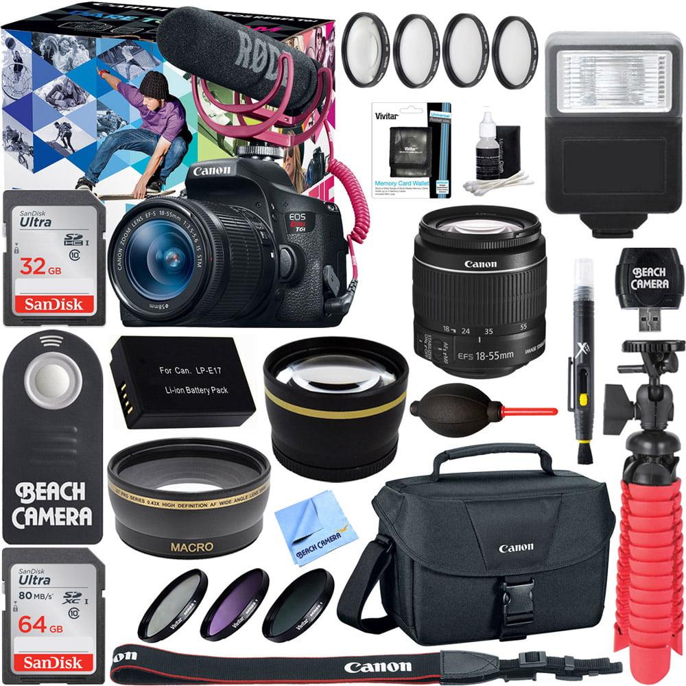 Canon EOS Rebel T6i Digital SLR Camera Video Creator Kit 18-55mm Zoom Lens, Rode Video Mic, 32GB + 64GB SDXC Memory Bundle + Pro Wide Angle Lens + 2x Telephoto Lens Converter +Extra Battery+DSLR Bag