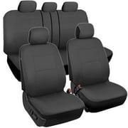 BDK Charcoal Black Car Seat Covers Full 9pc Set - Sleek & Stylish - Split Option Bench 5 Headrests Front & Rear Bench
