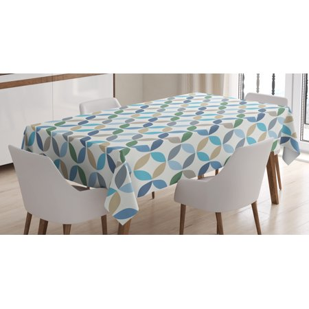 Geometric Circle Decor Tablecloth, Pastel Effects Oval Point Old Linked Stripes Contrast New Band, Rectangular Table Cover for Dining Room Kitchen, 60 X 84 Inches, Light Blue Green, by (New Dining Room)
