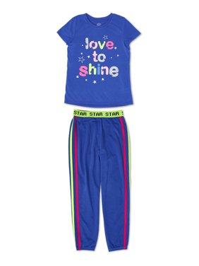 Wonder Nation Girls Exclusive Short Sleeve & Jogger Pajama Sleep Set Sizes 4-18 & Plus