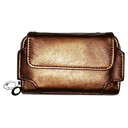 High Fashion Double Zip Cell Phone Wallet with Wristlet and Shoulder Strap (Metallic Bronze) (Mobile Phone Wrist Strap)