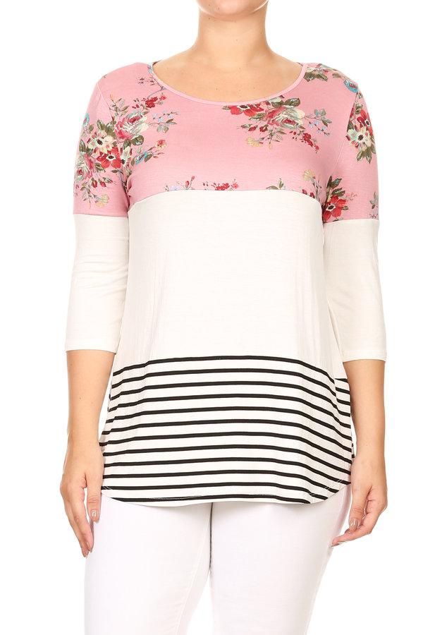 Women's PLUS Print 3/4 Sleeves Color Block Top