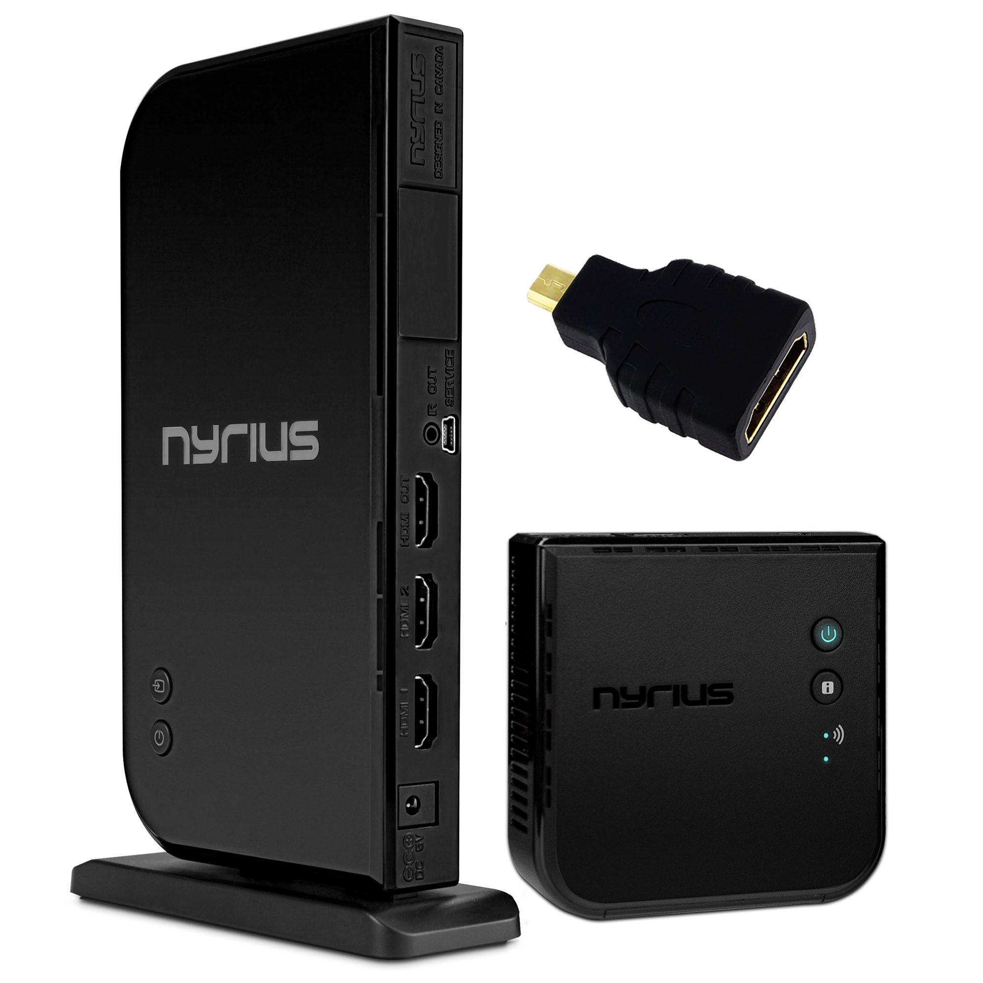 Nyrius ARIES Home+ Wireless HDMI 2x Input Transmitter & Receiver for Streaming HD 1080p 3D Video and Digital Audio - BONUS HDMI to Micro HDMI Adapter Included