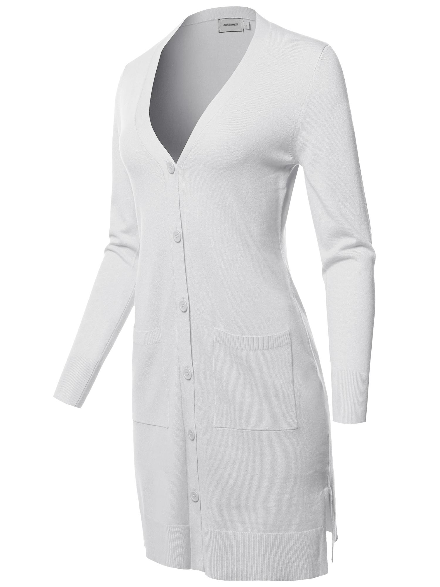 FashionOutfit Women's Casual Button Up Long-Line Sweater Viscose Knit Cardigan