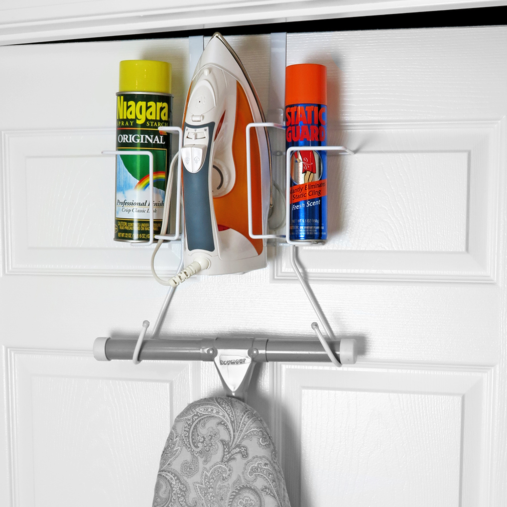 Evelots Over The Door Ironing Board Holder W/ Storage Basket for Clothing Iron