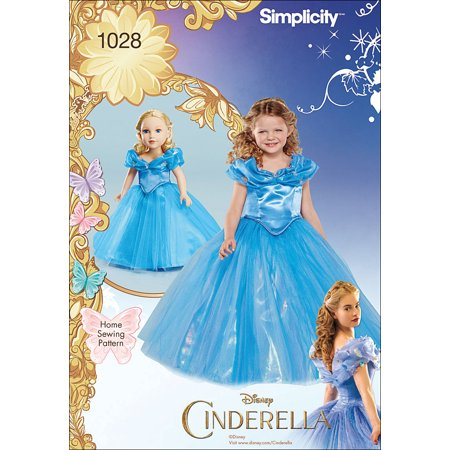 Disney Costume For Kids (Simplicity Disney Cinderella Costume For Child and 18 Doll,)