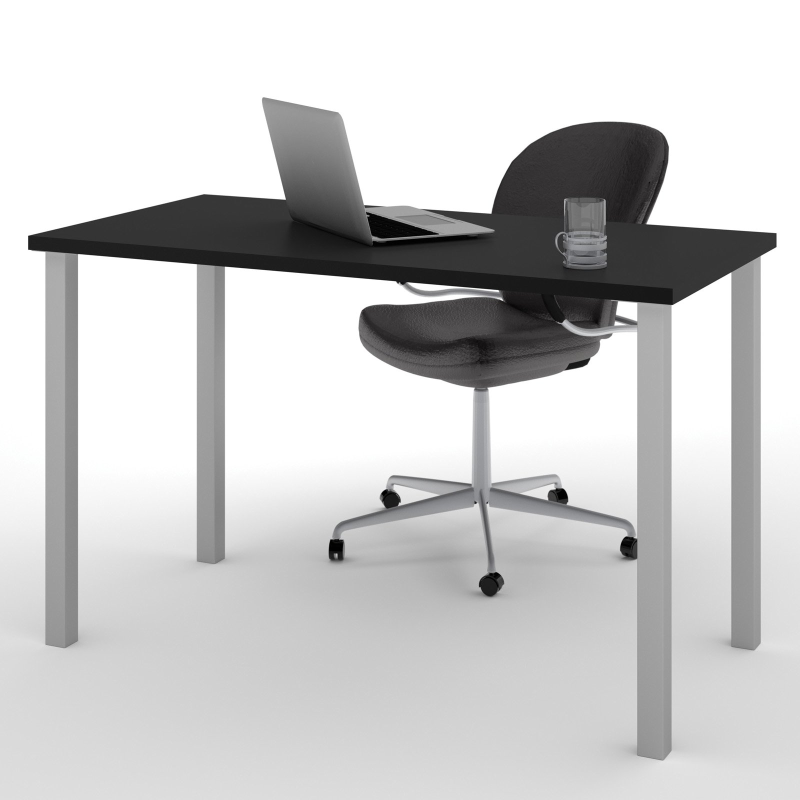 """Bestar 24"""" x 48"""" Table with square metal legs in Black"""