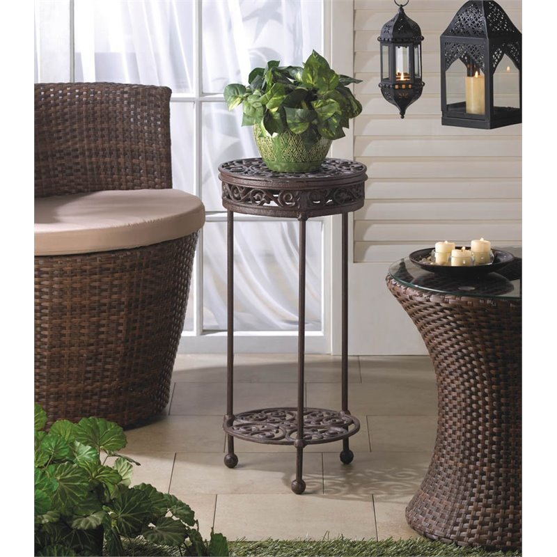 Zingz and Thingz Cast Iron Round Plant Stand in Brown by Zingz & Thingz