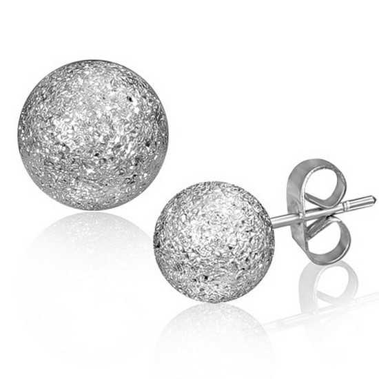 Stainless Steel Silver-Tone Glitter Womens Round Stud Earrings