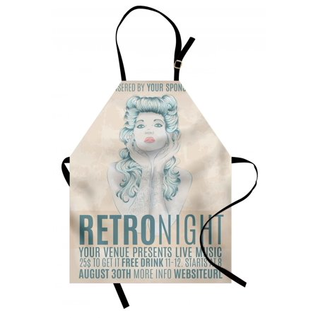 Indie Apron Retro Night Theme Poster Design Attractive Woman with Old Fashioned Hair Style, Unisex Kitchen Bib Apron with Adjustable Neck for Cooking Baking Gardening, Tan Slate Blue, by - Old Lady Hair