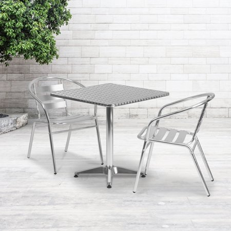 Flash Furniture 27.5 Square Aluminum Indoor-Outdoor Table with Base