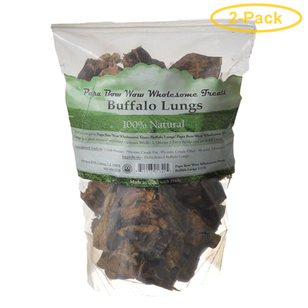 Papa Bow Wow Buffalo Lungs 0.5 lb - Pack of 2