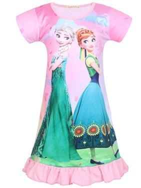 Girl's Nightie Nightdress Frozen Elsa & Anna Short Sleeve Pyjamas Dress