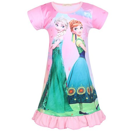 Girl's Nightie Nightdress Frozen Elsa & Anna Short Sleeve Pyjamas Dress](Elsa And Anna Dresses For Adults)