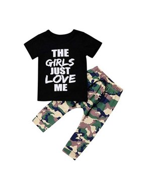 ec61bf78d56ea Product Image Infant Baby Boy Cotton Letter Shirt Top Camouflage Pant  Summer Clothes Suit