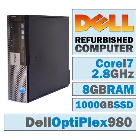 REFURBISHED Dell OptiPlex 980 SFF/Core i7-860 Quad @ 2.8 GHz/DVI Graphics Card/8GB DDR3/NEW 1000GB SSD/DVD-RW/WINDOWS 10 PRO 64