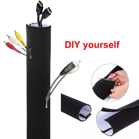 "60""x3.9"" Adjustable Cable Management Sleeves Cord Oganizer Wire Management System Wrap Cover"